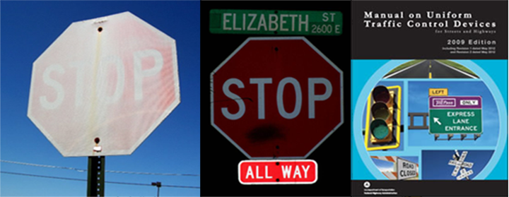 old stop signs - warn out signs
